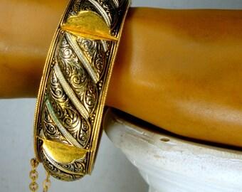 Vintage Damascene Bracelet, Ornate Spanish BLACK on GOLD Metal Bangle, Hinged w a Safety Chain,, 1970s, Islamic Medieval or Renaissance