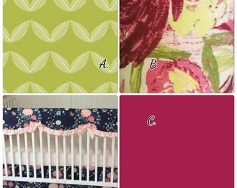 Baby Bedding Crib Set Baby Girl Cranberry Chartreuse Large Floral