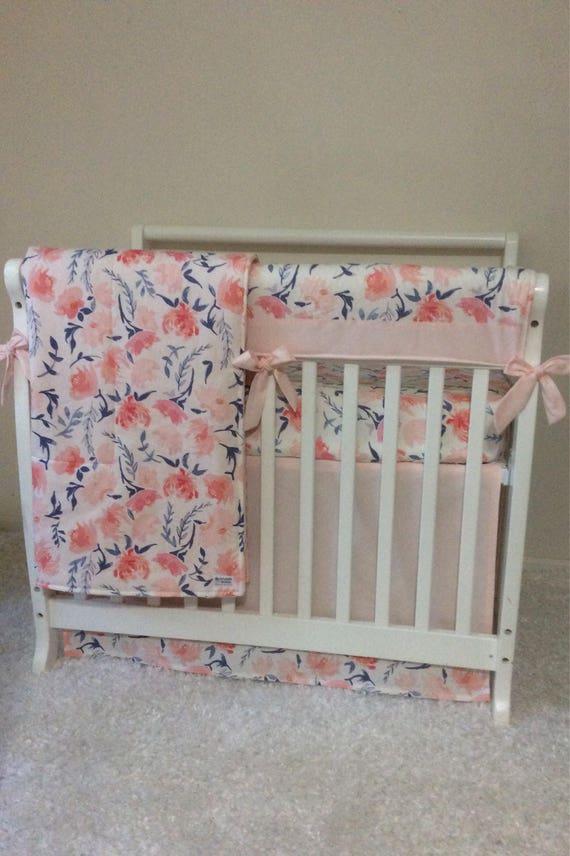 baby girl mini crib bedding set coral blush pink peach blue. Black Bedroom Furniture Sets. Home Design Ideas