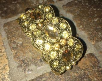 Pure Faux Gold Slip On Bracelet Wide Cuff Large Gems Gawdy Jewelry 1980s Bracelet Large Faux Gold Nuggets