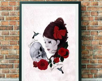 Gothic Romance - Goth Girl & Skull - Large Print - Soul Mates