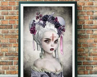 Vampire Art Print   Dracula's Bride   Vampire Portrait   Gothic Art Print   Rococo Art   A3 Art Print   Guilty Conscience