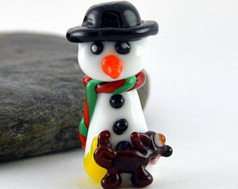 DON'T eat yellow snow, whimiscal focal glass lampwork bead, collectible dog bead, Izzybeads SRA