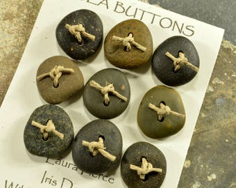 Nine  smooth jet black rusty red and grey granite little  Maine sea stone buttons ecochic  ocean style for knitters and jewelry craft