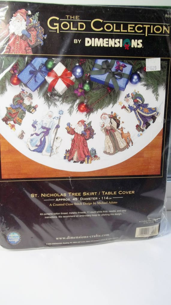 Dimensions Cross Stitch Kit St Nicholas Tree Skirt Table Cover 45 Diameter The Gold Collection Needlecraft Santa Holiday Decor NIP From
