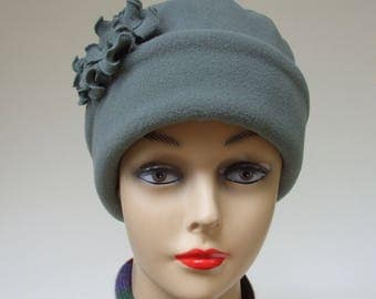 Fleece Hat Women, Winter Hat, Chemo Headwear, Soft Gray Green Polartec™, Ruffly Flower Pin, Fully Lined, Alopecia Headwear, Medium