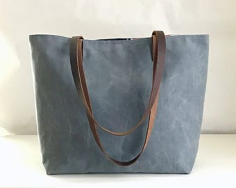 Grey Waxed Canvas Medium Tote Bag with Leather Straps - Ready to Ship