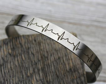 MEN'S Custom Heartbeat Cuff Bracelet engraved with your loved one's actual heartbeat, Stainless Steel