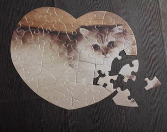 Personalized / Custom Printing Heart Shaped Puzzle ( 52 Pieces ) Free Shipping / For Love / For Her / Puzzle Heart / Puzzle Lover Gift