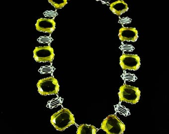 Vintage Art deco Necklace / Lemon Glass Festoon / HUGE stones Citrine yellow / 13th 17th anniversary November gemstone