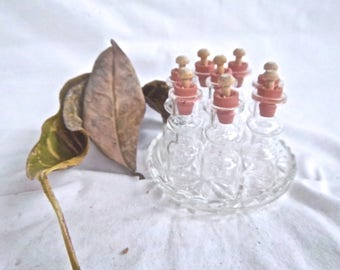 Vintage Glass Tiny Bottle Set with Vintage Glass Tray Wood and Rubber Stopper Bottle Set Vintage Glass Bottle Supply Tiny Bottle Accessary