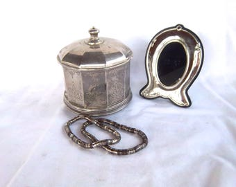 Vintage Godinger Silver Jewelry Box & Vintage Silver Plate Ornate Photo Frame Vintage Home and Living Keepsake Box and Frame Vintage Decor