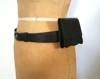 Black Leather Waist Bag / Wallet Buckle Belt / 31-35 inch waist / S-M