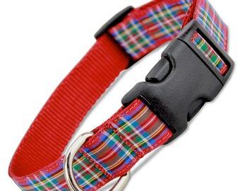 Scottish Plaid Dog Collar, Royal Stewart Tartan