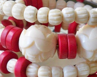 Bone and wood beaded One Wrap Bracelet - Flower, Red coral beads - Boho Chic - White & Red - One of a Kind - bycat