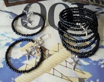 Set - Wrap bracelet and Hoop earrings - Silver Starfish charms - Black Seed Beads - Memory wire - Boho chic - Bohemian cuff - bycat