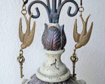 Bird Lovers Earrings - Bird in flight holding key earrings - Long dangle earrings - Assemblage jewelry - One of a Kind - bycat