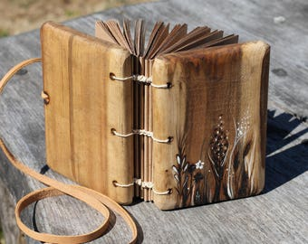 Coptic stitched Rustic wood journal Maedow