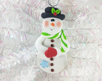 Handmade Polymer Clay Snowman Christmas Ornament - Gift for Child - Gift for Snowman Collector - Christmas Decoration - Keepsake Gift -61315