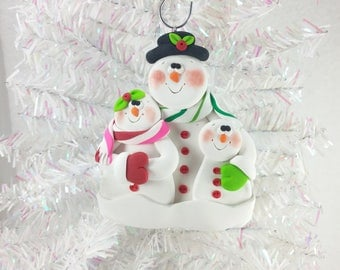 Clay Snowman Family Christmas Ornament - Snow Family of Three - Gift Family of Three - Family Ornament - Snowman Collector Ornament - 6138