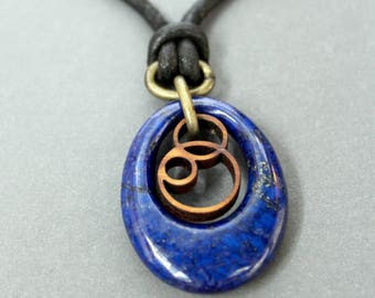 Lapis Lazuli, Blue Lapis, Lapis Lazuli Necklace, Lapis Necklace, Lapis and Wood Pendant, Lapis Lazuli Jewelry, laser cut pendant,