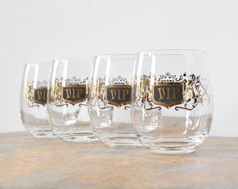 VIP cocktail glasses, vintage mid century black and gold tumblers, large 60s roly poly glasses
