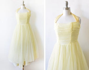 50s yellow party dress, vintage 1950s yellow chiffon dress, halter cocktail dress, extra small/small