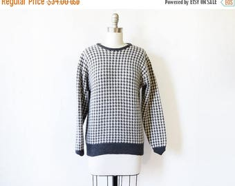 20% OFF SALE houndstooth sweater, vintage checkered sweater, gray and white lambswool and angora sweater, medium large sweater