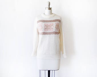snowflake sweater, vintage 80s white + pink snowflake sweater,  lightweight 1980s pullover knit jumper, small to medium s/m