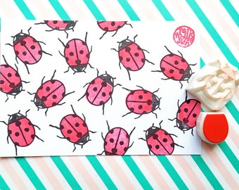 ladybird stamp, ladybug stamp, insect stamp, woodland bug hand carved stamps, baby shower crafts, birthday scrapbooking, set of 2, small