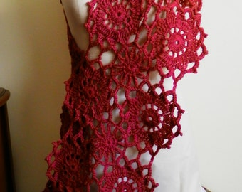 Hand Crocheted Burgundy Medallion Shawl