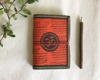 OM Chakra, Blank Journal, Writing Journal, Orange, 7 x 5 inches, Vedanta Gift, Personal Book, Hindu Diary, Religion Study Notes, notebook