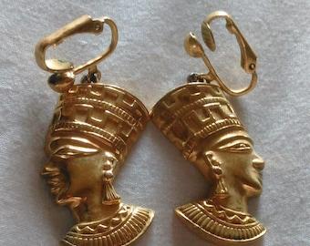 Vintage African Queen Nefertiti Clip On Earrings Avon Earrings Revival Costume Black Heritage