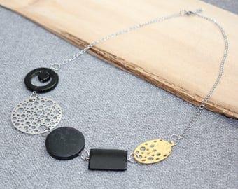 collier court, noir, collier pour femme, or, collier argent, acier inoxydable, rond, cercle, géométrique, bulle, cadeau pour elle etsyquebec