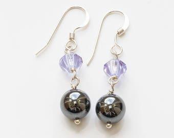 Haematite and Crystal Sterling Silver Earrings