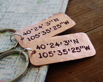 Latitude Longitude Keychain Set of 2, Couples Gift Set, Copper Anniversary Gift,GPS Coordinates Keychain, Long Distance Relationship, LDR