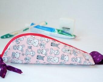 Trousse à Brosse à Dents,Pochette à brosse à dents,étui multiusage,pochette  voyage,rangement brosse dentifrice, zippée,dentifrice transport