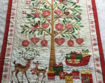 Advent Calendar Quilted, Christmas Advent Calendar, Christmas Countdown Calendar, English Advent Calendar, Advent Wall Hanging