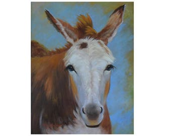 Fanciful Animal Portrait Painting,Fancy The Mule,14x18 Oil On Canvas Original Painting by Cheri Wollenberg