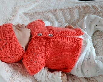 Baby Girls Hat Set, Sleeveless Cardigan, Baby Shower Gift , Newmums, Knitted Hat, Uk Baby Wear, Baby Top, Babies,