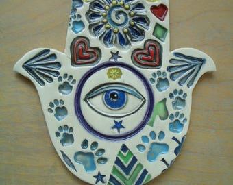 IRIS - HAMSA Hand, Good Luck, Protection - Ceramic Mosaic Tiles
