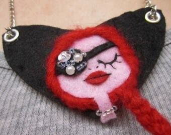 CLEARANCE Necklace Art Doll Portrait Chic Pirate