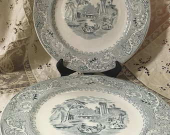 Set of 2 Lunch Plates Rhine Blue Hill Pottery