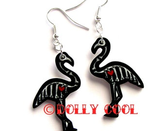 Sugar Skull Day of the Dead Flamingo Earrings by Dolly Cool