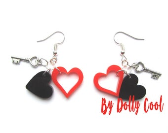 Heart and Key Earrings by Dolly Cool Super cute and Retro Vintage Valentine 50s style