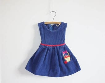 SALE // Vintage Navy Corduroy Apple Dress