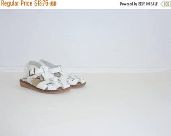 SALE // Vintage White Leather Sandals