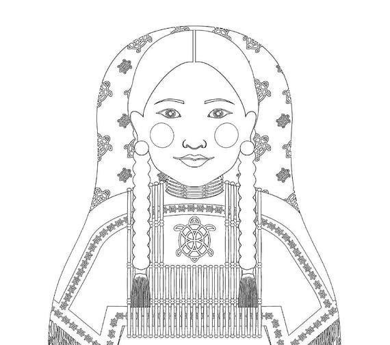 Native American Woman Matryoshka Coloring Sheet Printable file