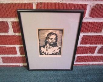Vintage 1930s Signed Framed Original Woodblock Print of Christ