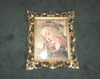 Vintage Lithograph in Gorgeous Italian Florentine 12x14 1/2 Ornate Gilt Wood Frame